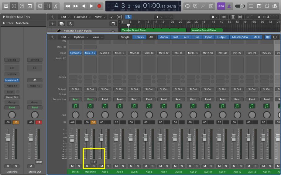Go to the mixer view and click on the Plus button 15 times to make sure all 15 auxiliary tracks are visible on the mixer
